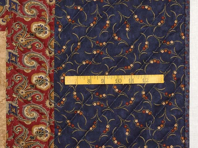 Navy Burgundy and Tan Stars in the Cabin Quilt Photo 6