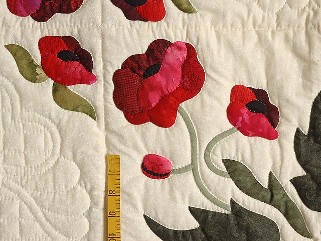 Dark Moss and Poppy Red Poppy Fields Quilt Photo 5