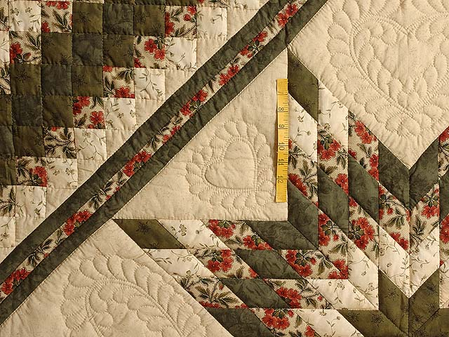 Dark Green and Brick Red Lone Star Trip Quilt Photo 4