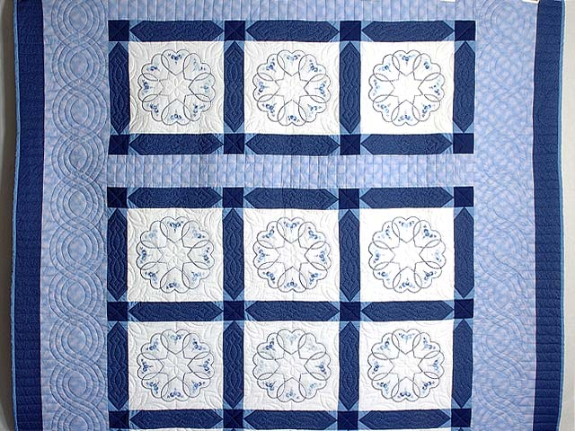 Blue Hearts Cross Stitch Quilt Photo 2