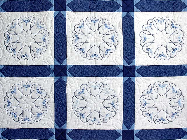 Blue Hearts Cross Stitch Quilt Photo 3