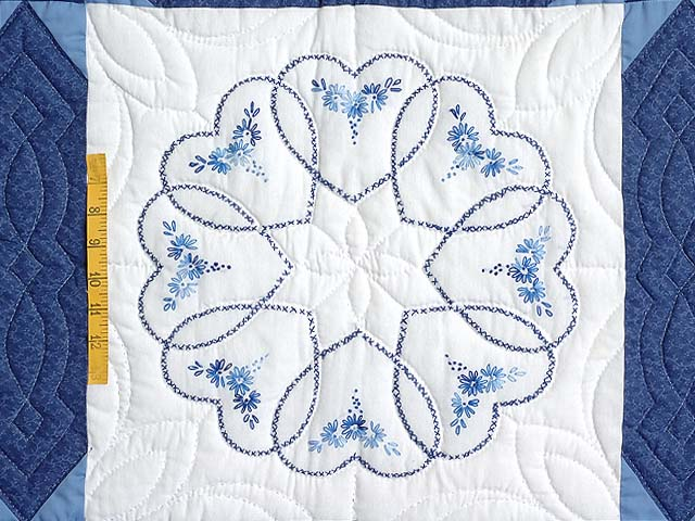 Blue Hearts Cross Stitch Quilt Photo 4