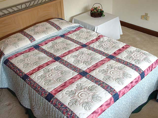 Rose and Blue Cross Stitch Quilt Photo 1