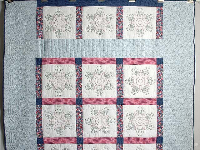 Rose and Blue Cross Stitch Quilt Photo 2
