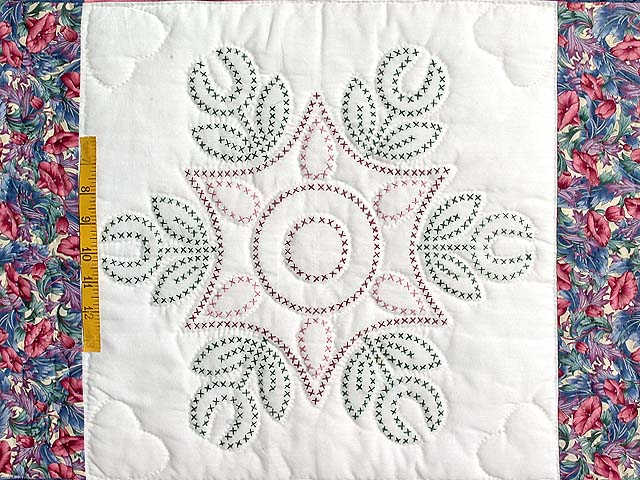 Rose and Blue Cross Stitch Quilt Photo 4