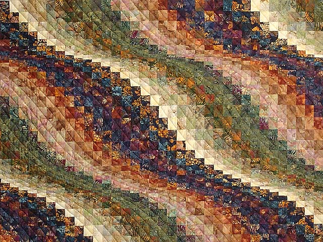 Twin-size Hand Painted Bargello Wave Quilt Photo 3