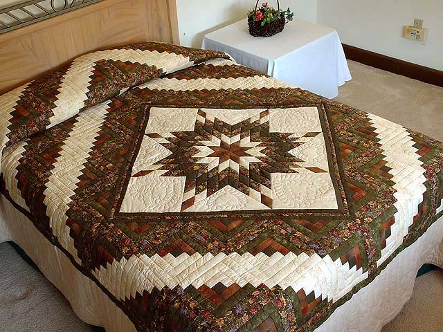Autumn Colors Lone Star Log Cabin Quilt Photo 1