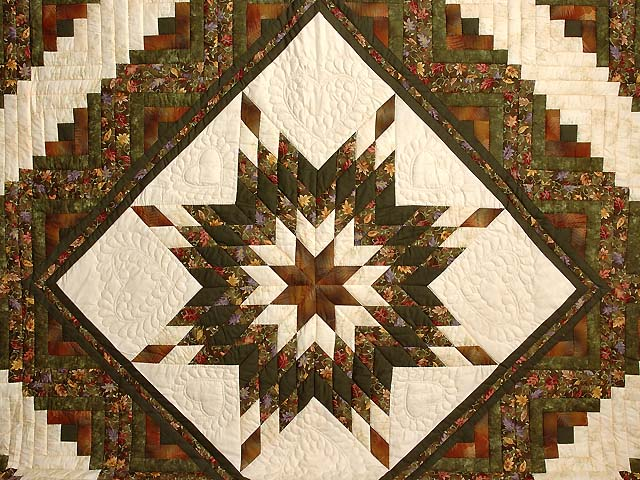Autumn Colors Lone Star Log Cabin Quilt Photo 3