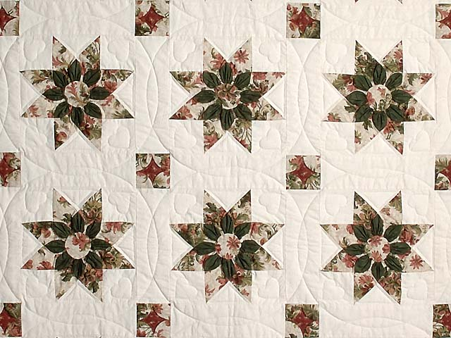 King-size Rose and Green Dahlia Quilt Photo 3