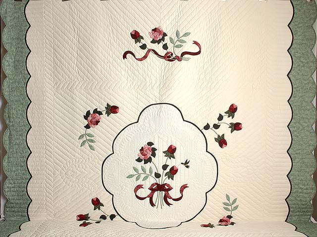 King Mint Burgundy and Rose Lancaster Treasures Quilt Photo 2