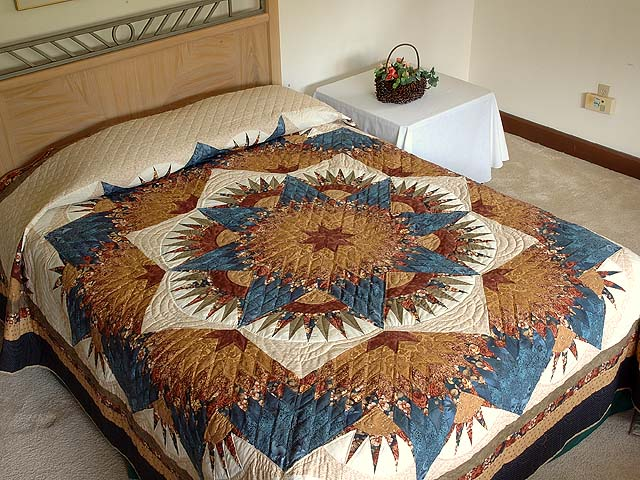 Blue Gold and Brown Compass Star Quilt Photo 1