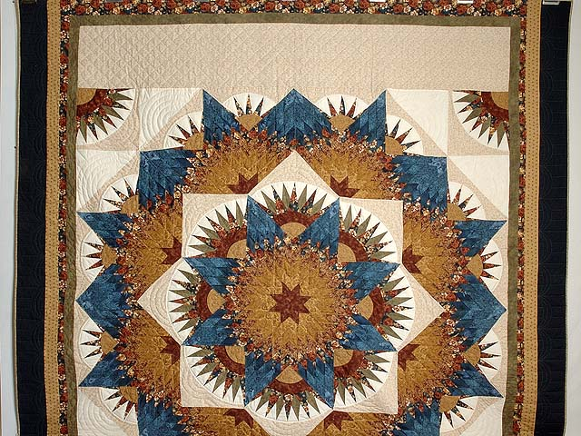 Blue Gold and Brown Compass Star Quilt Photo 2