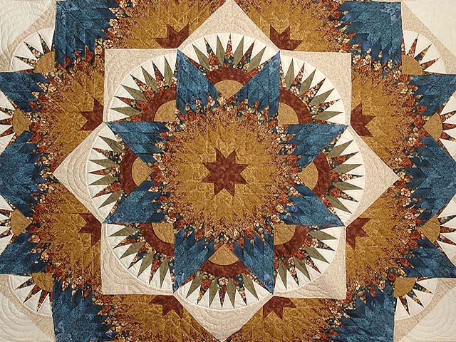 Blue Gold and Brown Compass Star Quilt Photo 3