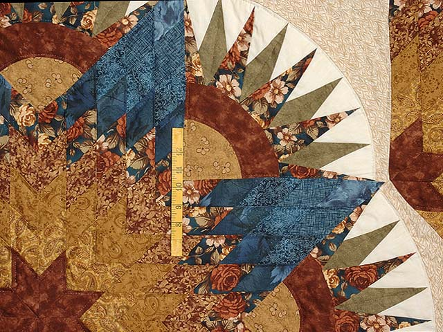 Blue Gold and Brown Compass Star Quilt Photo 4