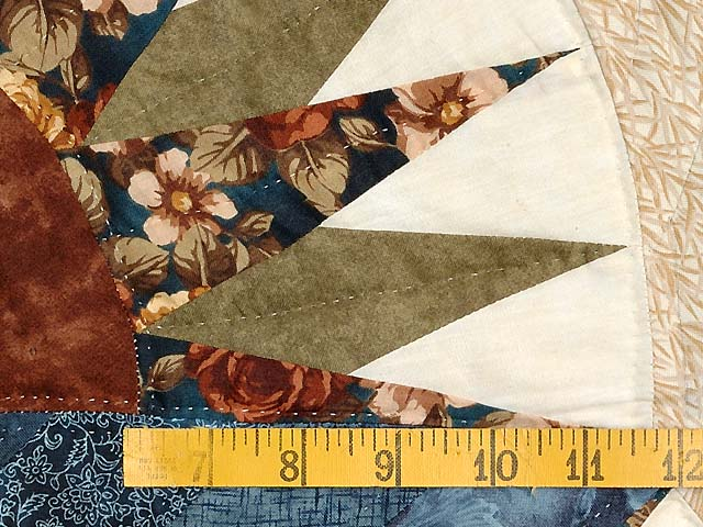 Blue Gold and Brown Compass Star Quilt Photo 5