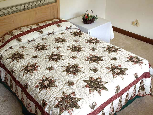 Burgundy Moss and Rose Dahlia Star Quilt with Cones Photo 1