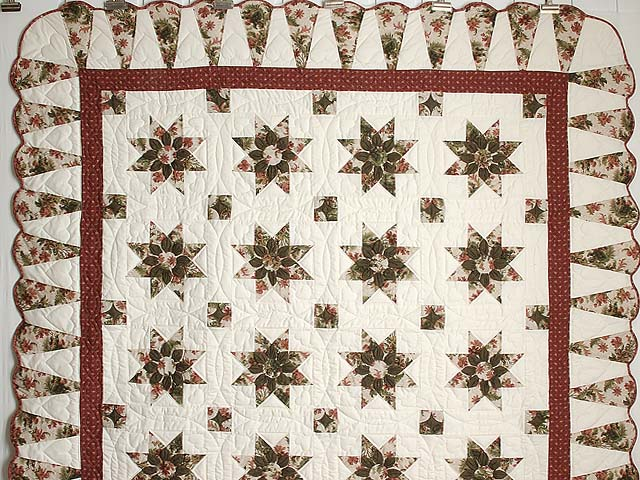 Burgundy Moss and Rose Dahlia Star Quilt with Cones Photo 2