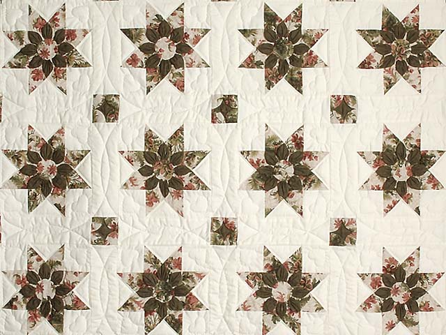 Burgundy Moss and Rose Dahlia Star Quilt with Cones Photo 3