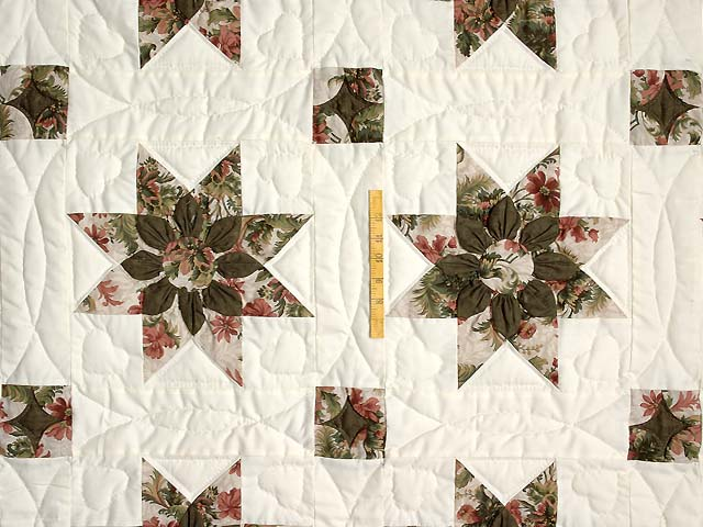 Burgundy Moss and Rose Dahlia Star Quilt with Cones Photo 4