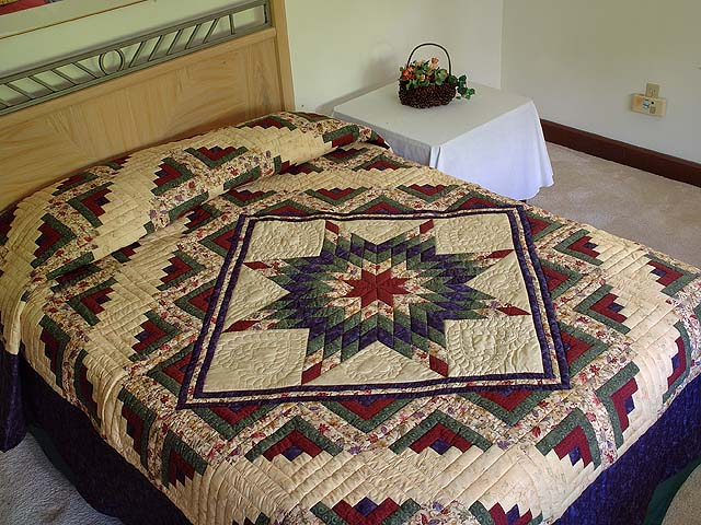 Navy Burgundy Green and Tan Lone Star Log Cabin Quilt Photo 1