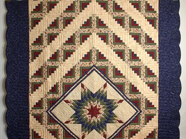 Navy Burgundy Green and Tan Lone Star Log Cabin Quilt Photo 2