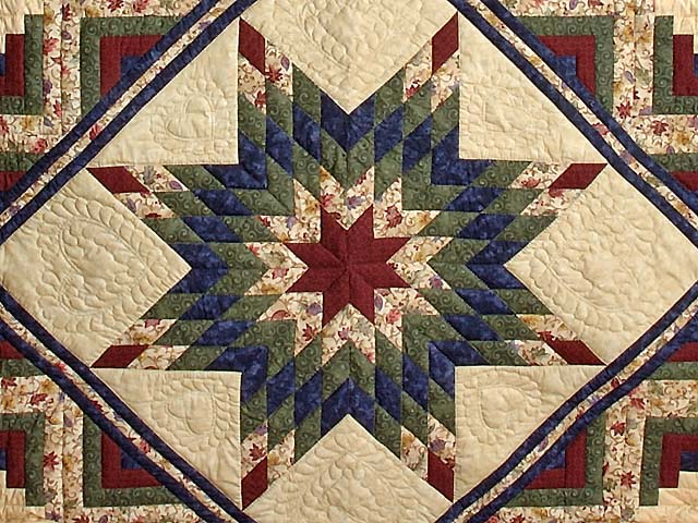 Navy Burgundy Green and Tan Lone Star Log Cabin Quilt Photo 3