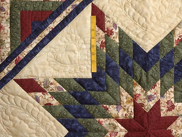 Navy Burgundy Green and Tan Lone Star Log Cabin Quilt Photo 4