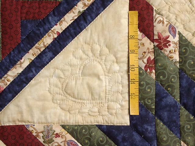 Navy Burgundy Green and Tan Lone Star Log Cabin Quilt Photo 5