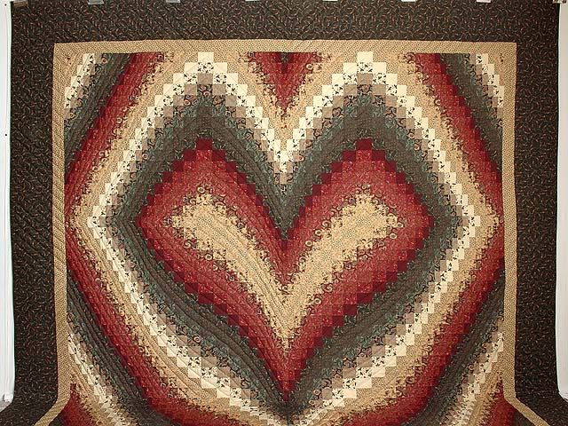 King Dark Green Burgundy and Tan Bargello Heart Quilt Photo 2