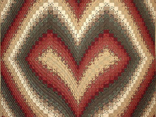 King Dark Green Burgundy and Tan Bargello Heart Quilt Photo 3