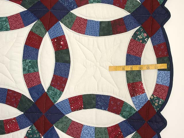 Blue Burgundy and Multicolor Double Wedding Ring Quilt Photo 7