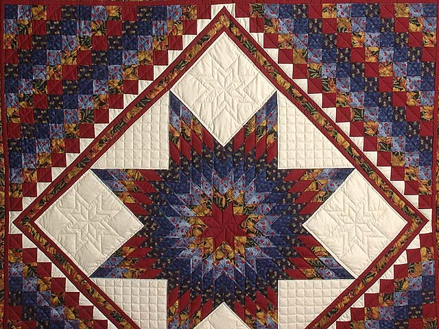 Gold Blue and Red Lone Star Trip Quilt Photo 3