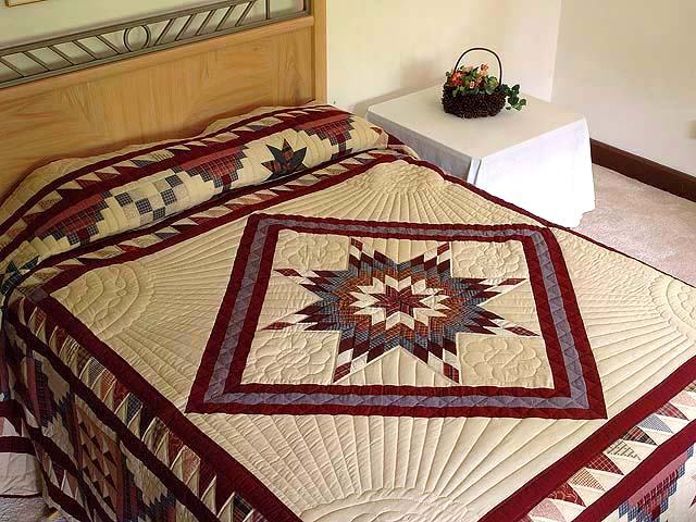 King Plaid Burgundy and Tan Lone Star Sampler Quilt Photo 1