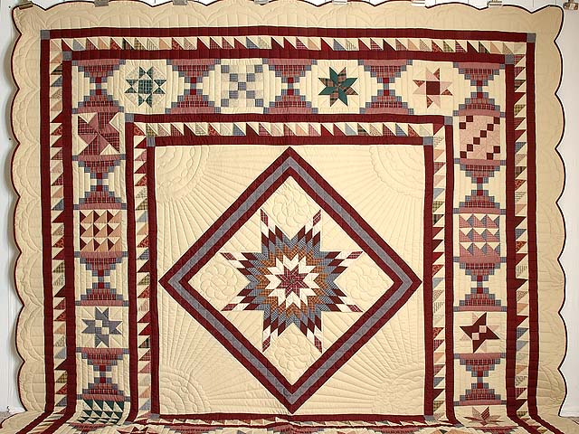 King Plaid Burgundy and Tan Lone Star Sampler Quilt Photo 2