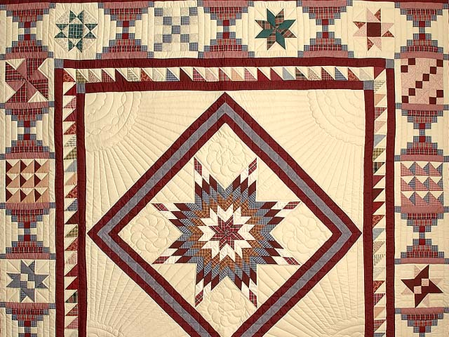 King Plaid Burgundy and Tan Lone Star Sampler Quilt Photo 3