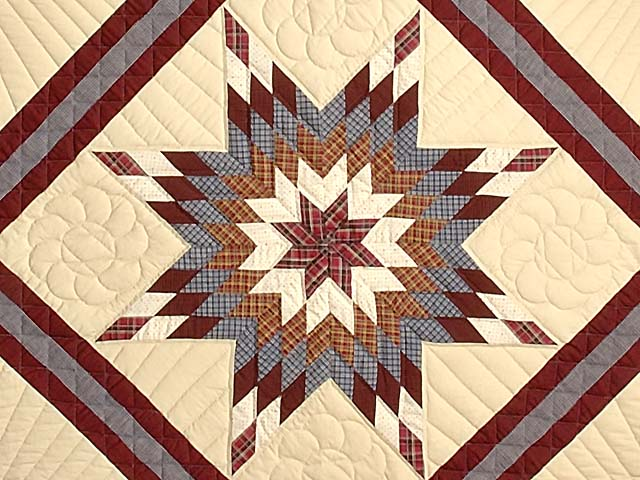 King Plaid Burgundy and Tan Lone Star Sampler Quilt Photo 4