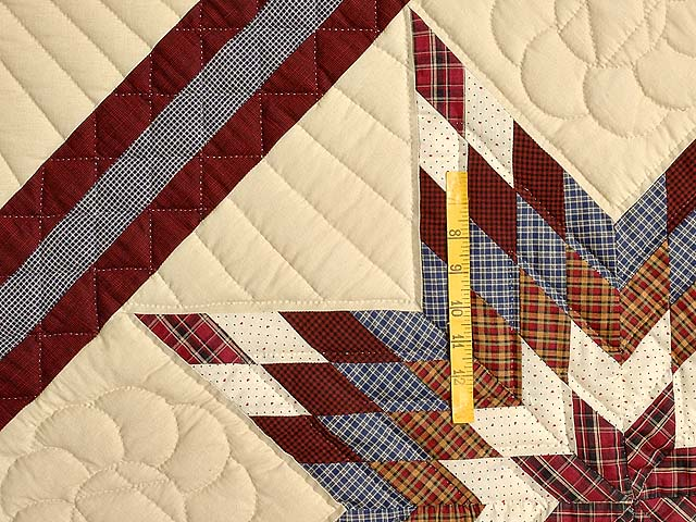 King Plaid Burgundy and Tan Lone Star Sampler Quilt Photo 5