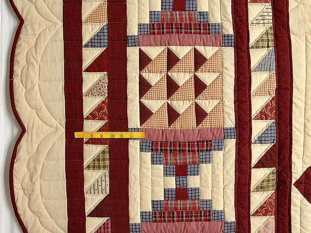 King Plaid Burgundy and Tan Lone Star Sampler Quilt Photo 7