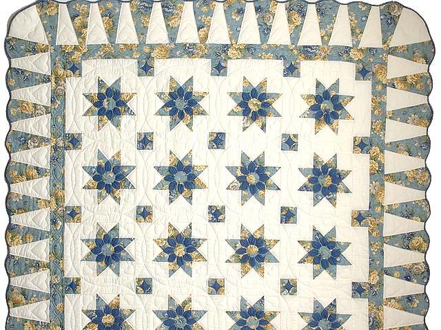Blue Gold and Cream Dahlia Star Quilt Photo 2
