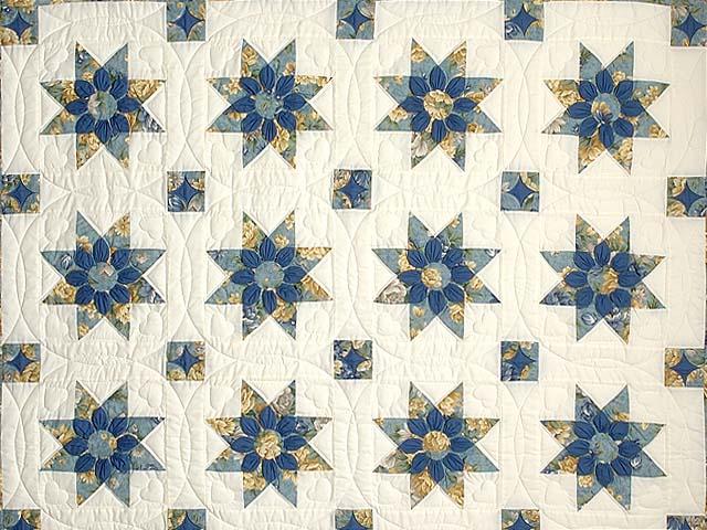 Blue Gold and Cream Dahlia Star Quilt Photo 3