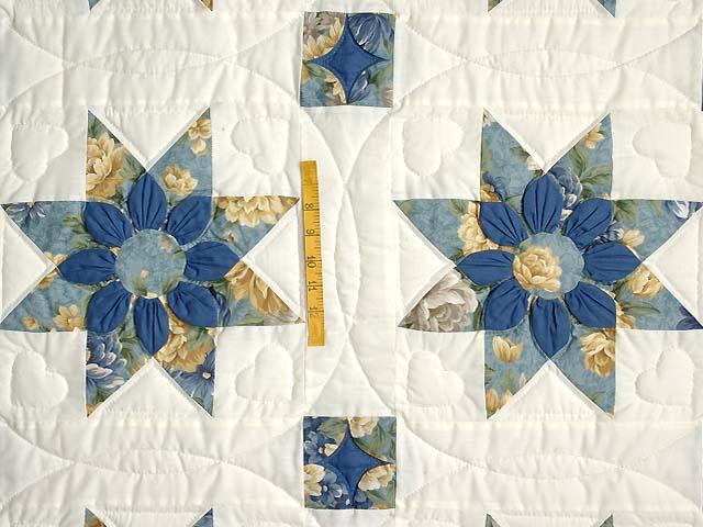 Blue Gold and Cream Dahlia Star Quilt Photo 4