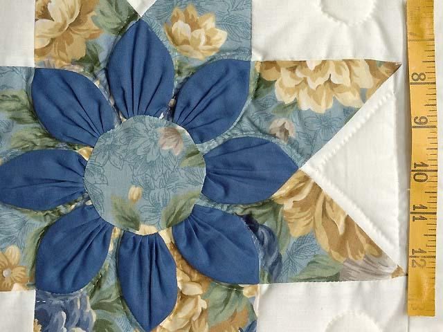 Blue Gold and Cream Dahlia Star Quilt Photo 5