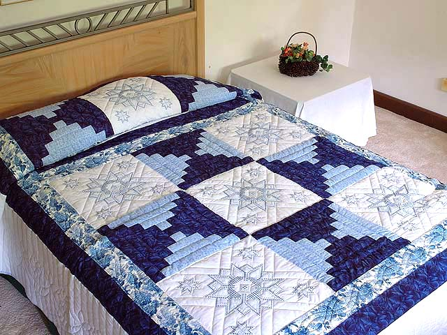 Blue and Ivory Log Cabin Cross Stitch Quilt Photo 1