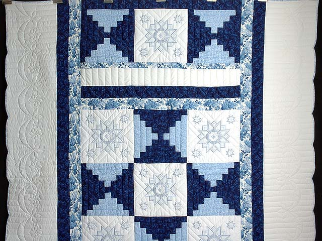 Blue and Ivory Log Cabin Cross Stitch Quilt Photo 2