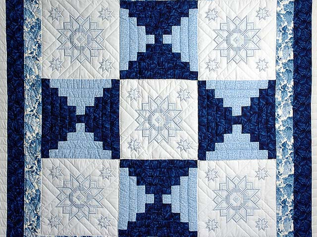 Blue and Ivory Log Cabin Cross Stitch Quilt Photo 3