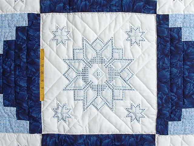 Blue and Ivory Log Cabin Cross Stitch Quilt Photo 4