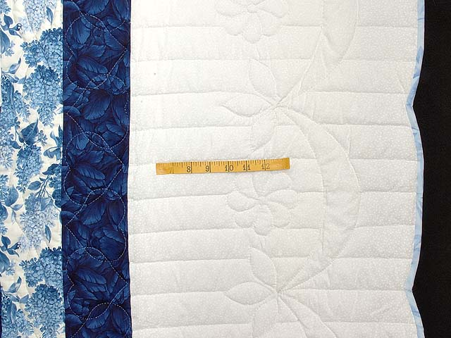Blue and Ivory Log Cabin Cross Stitch Quilt Photo 6