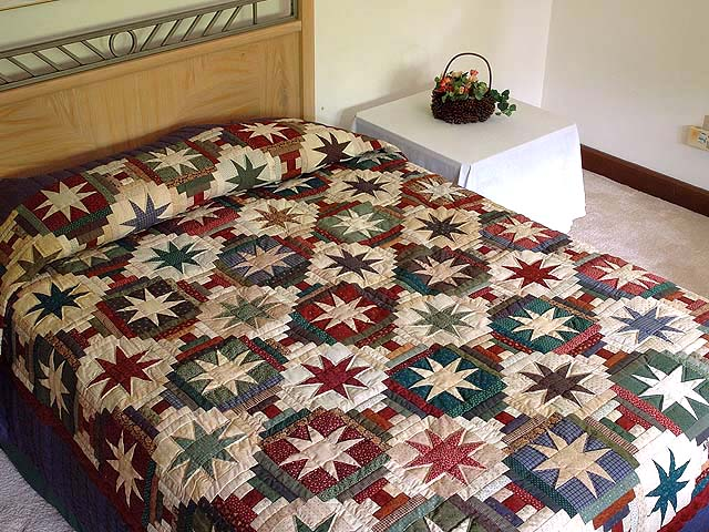 Dark Blue and Multicolor Court Steps Stars Quilt Photo 1