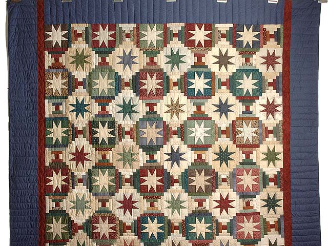 Dark Blue and Multicolor Court Steps Stars Quilt Photo 2