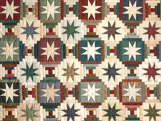 Dark Blue and Multicolor Court Steps Stars Quilt Photo 3